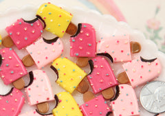26mm Popsicle with Colorful Sprinkles Fake Chocolate Ice Cream Bar Flatback Resin Cabochons - Pink, Yellow, Deep Pink - 6 pcs set