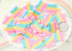 Pastel Rainbow Star Charms - 25mm Pastel Rainbow Star Resin Charms or Pendants - 6 pc set