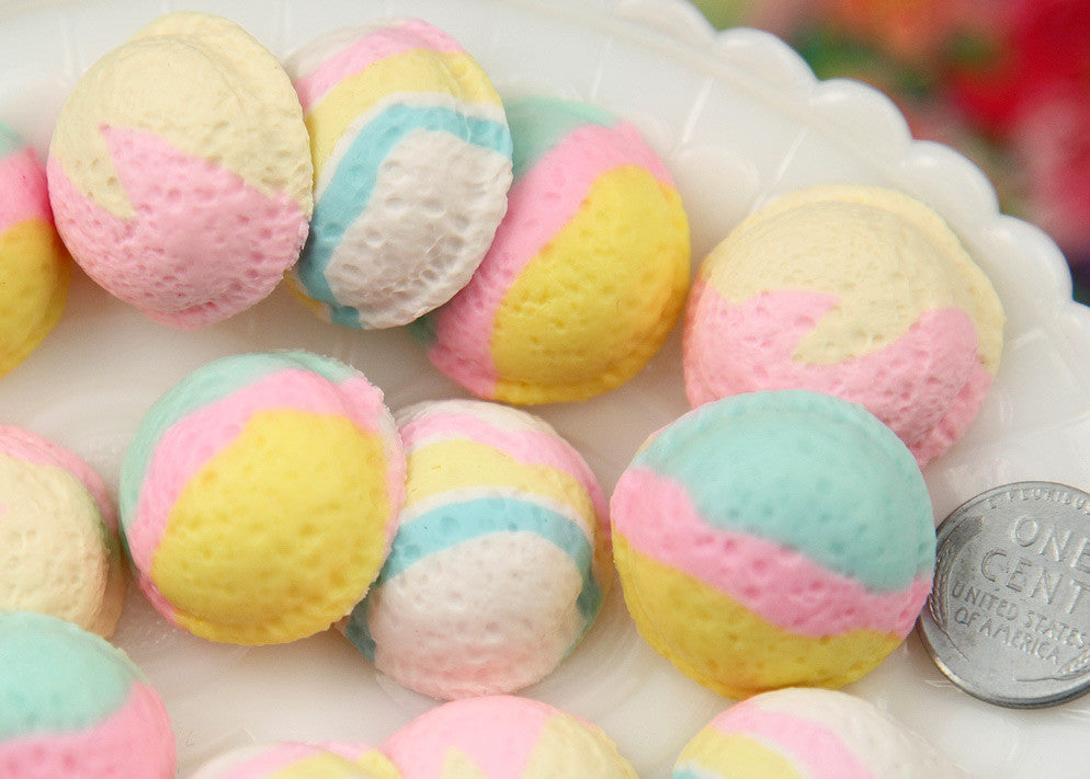 23mm Realistic Pastel Colored Ice Cream Scoop Cabochons  for