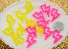 27mm Colorful Lightning Bolt Resin Charms - 10 pc set