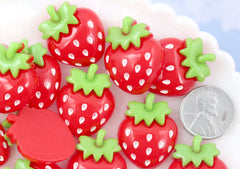 Strawberry Cabochons - 27mm Cute Chunky Red Strawberry Acrylic or Resin Flatback Cabochons - 6 pc set