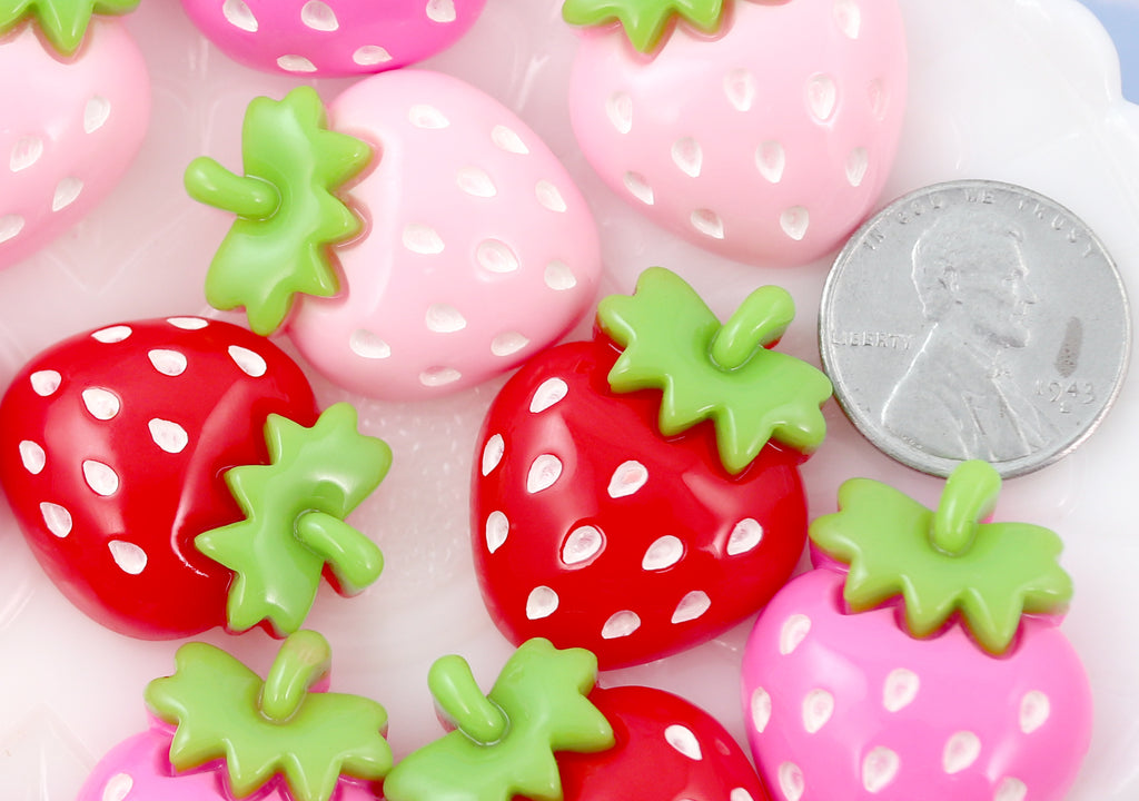 Strawberry Cabochons - 27mm Cute Chunky Strawberry Mix Acrylic or Resin Flatback Cabochons - 6 pc set