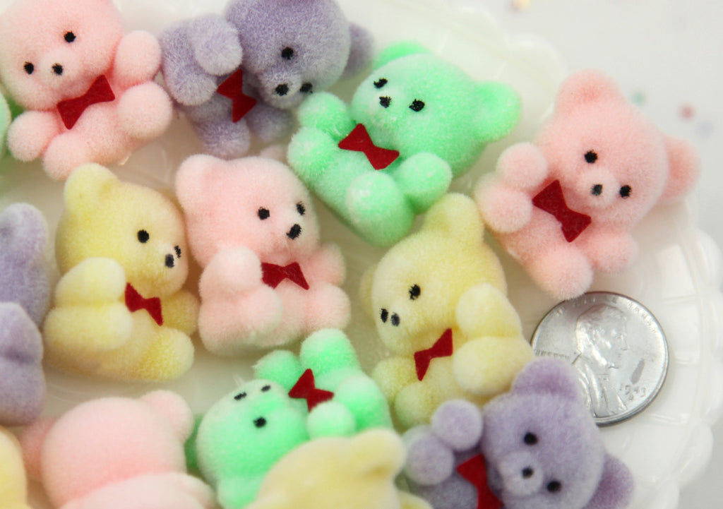 27mm Pastel Flocked Mini Bear Colorful Little Miniature Fuzzy Soft Bears - 4 pc set