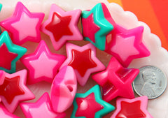 Star Beads - 27mm Cute Chunky Star with Side Hole Acrylic or Resin Beads or Charms - 6 pc set