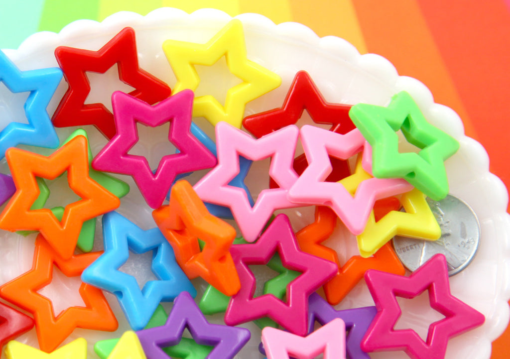 Colorful Star Beads - 27mm Big Outline Star Chunky Acrylic or Resin Beads - 25 pcs set