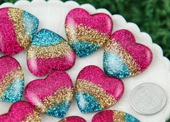 27mm Rainbow Glitter Gradient Stripe Heart High-Quality Resin Flatback Cabochons - 5 pc set