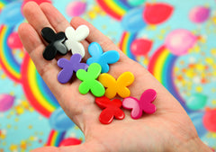 Butterfly Beads - 30mm Primary Color Opaque Butterfly Shaped Resin or Acrylic Beads - 24 pc set