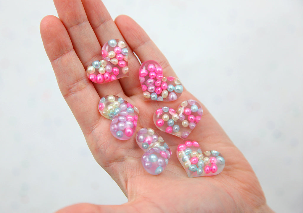 Heart Cabochons - 28mm Pearl Pastel Bubble Heart Resin Flatback Cabochons - 6 pc set