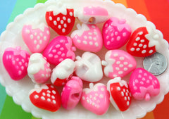 Strawberry Beads - 28mm Cute Chunky Strawberry with Side Hole Acrylic or Resin Beads or Charms - 6 pc set
