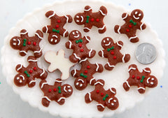 Gingerbread Man Cabochon - 28mm Little Gingerbread Men Cookie Resin Cabochons - 6 pc set