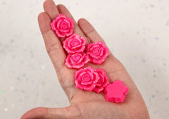 28mm Beautiful Bright Pink Glitter Rose Flatback Resin Cabochons, Large Size - 5 pc set