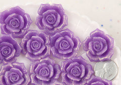 28mm Beautiful Purple Glitter Rose Resin Cabochons, Large Size - 5 pc set