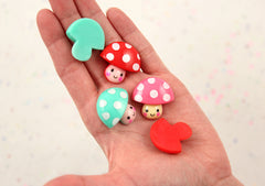 30mm Super Cute Chunky Polka Dot Mushroom Guys Kawaii Resin Cabochons - Red, Pink and Aqua Blue - 6 pc set