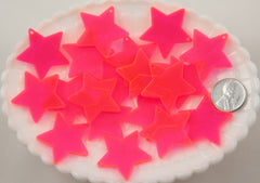 30mm Bright Pink Star Acrylic or Resin Charms - 6 pc set
