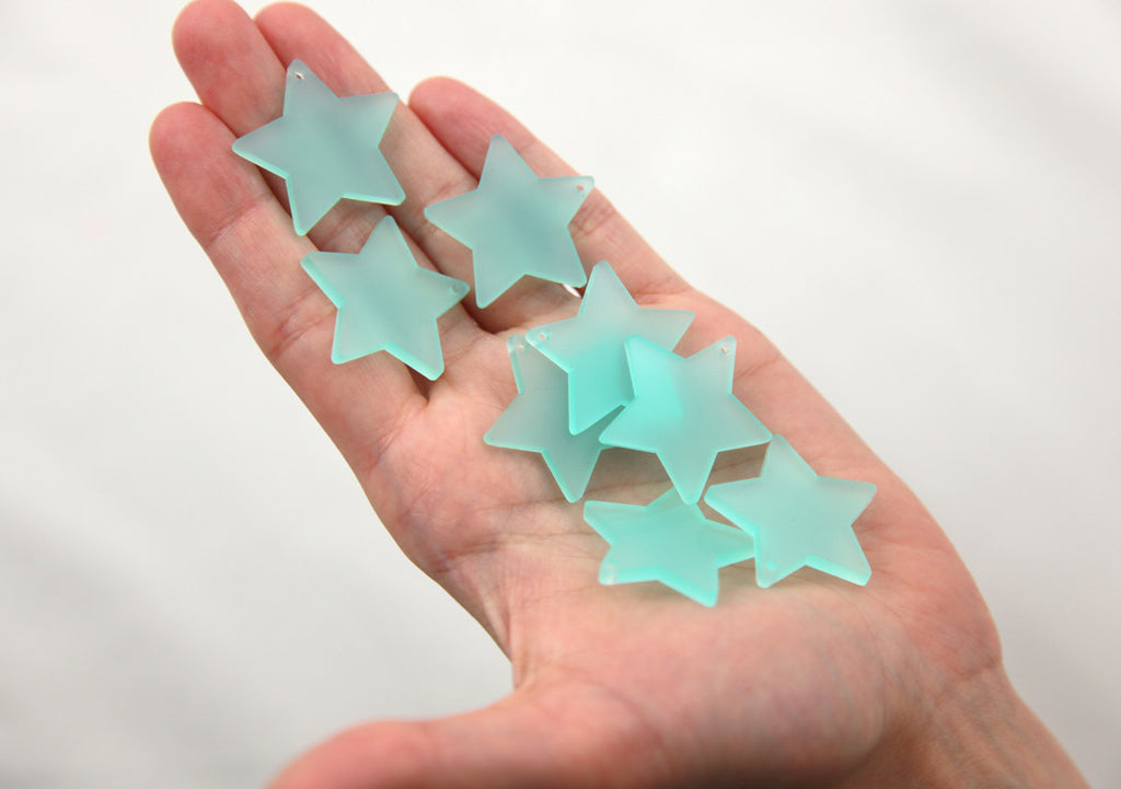 Resin Star Charms - 30mm Sea Glass Blue Star Resin Charms - 6 pc set