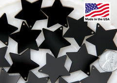 Resin Star Charms - 30mm Black Star Acrylic or Resin Charms - 6 pc set