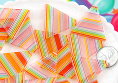 Rainbow Charms - 28mm Striped Rainbow Triangle Pyramid Resin Charms or Pendants - 6 pc set