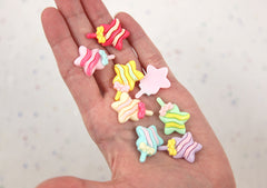 20mm Star Shaped Lollipops Kawaii Pastel Resin or Plastic Flatback Cabochons - 8 pc set