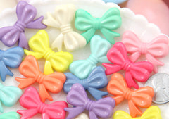 30mm Small Pastel Bow or Ribbon Shape Acrylic or Resin Beads - 20 pc set