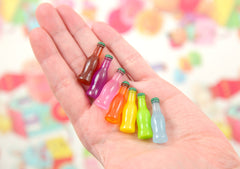 30mm Little Soda Bottles Fake Pop Junk Food Cola Drink Plastic Acrylic or Resin Cabochons - 7 pc set