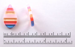 Striped Resin Charms - 16mm Pastel Stripe Teardrop Resin Charms or Pendants - 6 pc set