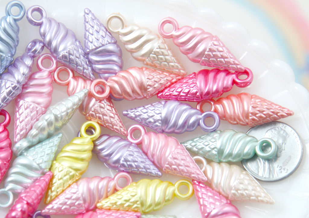 Pastel Charms - 30mm Little Pearly Pastel Ice Cream Cone Shape Acrylic or Resin Charms - 56 pc set