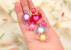 30mm Chunky Candy Shape Pink Acrylic or Resin Beads - 14 pc set