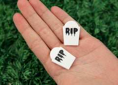 30mm Little White Grave Stone Spooky Resin or Acrylic Flatback Cabochons - 5 pc set