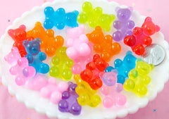 Fake Gummy Bears - 30mm Big Bright Color Fake Gummy Bears Resin Flatback Cabochons - 8 pc set