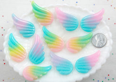Pastel Wing Cabochons - 40mm Pastel Shimmer Rainbow Wing Resin Flat back Cabochons - 8 pc set