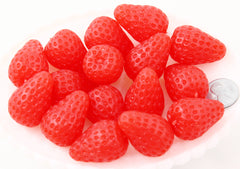 Fake Fruit - 30mm Big Fake Strawberries Soft Squishy Silicone Strawberry or Resin Cabochons - 4 pc set
