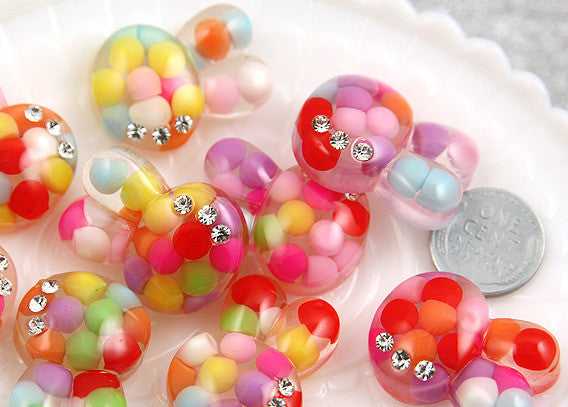 30mm Bubble Bunny Resin Cabochons - 6 pc set