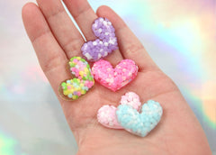 30mm Gorgeous Confetti Sprinkles Heart Chunky Resin or Acrylic Flatback Cabochons - Pink, Purple, Blue, Rainbow - 5 pc set