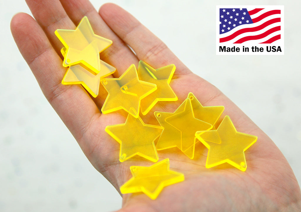 Star Charms - 30mm Bright Yellow Translucent Star Resin Charms - 6 pc set