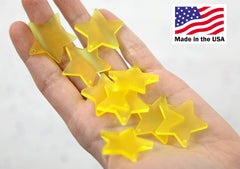 Star Charms - 30mm Bright Yellow Matte Star Resin Charms - 6 pc set