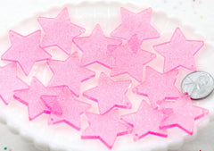Star Charms - 30mm Pink Glitter Translucent Star Resin Charms - 6 pc set