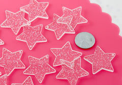 Glitter Star Charms - 30mm White Glitter Stars Resin Charms - 6 pc set