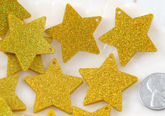 Star Charms - 30mm Gold Holographic Glitter Star Resin Charms - 6 pc set