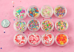 Fake Sprinkles Sampler Kit - Fake Sprinkles Faux Candy Topping - for Nail Art, Slime, Decoden, Makeup, Resin Jewelry Making, etc - 12 Jars