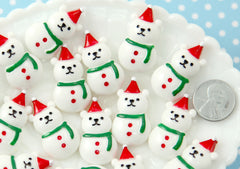 Kawaii Christmas Cabochons - 32mm Super Cute Bear White Snowman Christmas Resin Cabochons or Charms - 6 pcs set
