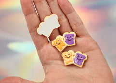 30mm Peanut Butter and Jelly Sandwich Flatback Resin Cabochons - 6 pc set