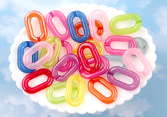 Plastic Chain Links - 31mm Big Jelly Color Plastic Chain Links - 40 pc set