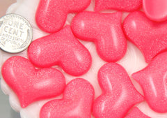 30mm Shimmer Heart Resin Cabochons - Bright Pink - 6 pc set