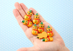 Kawaii Christmas Cabochons - 32mm Super Cute Kitty Cat Snowman Christmas Resin Cabochons or Charms - 6 pcs set