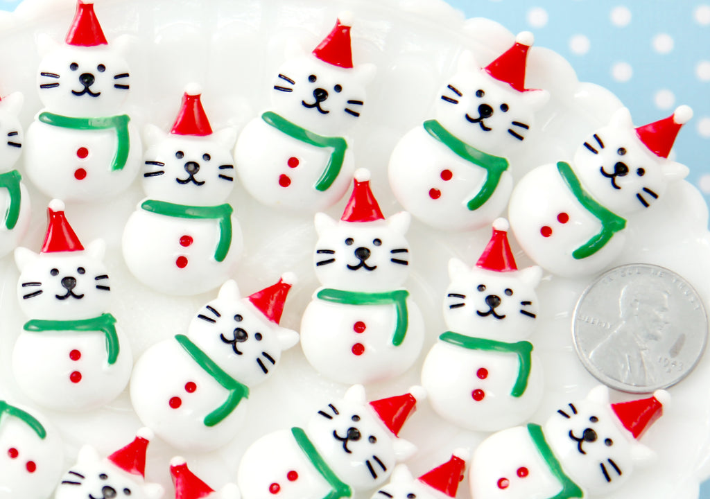 Kawaii Christmas Cabochons - 32mm Super Cute Kitty Cat White Snowman Christmas Resin Cabochons or Charms - 6 pcs set