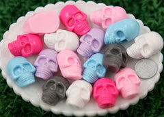 32mm Creepy Scary Skull Resin Flatback Cabochons - Chunky Size, Pastel Color, Pink, Purple, Blue, Hot Pink, White, Gray - 6 pc set