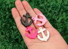 32mm Solid Color Anchors Resin Charms or Pendants - Pink, Black, White - 8 pc set