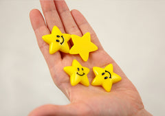 32mm Happy Star Yellow Smiling Stars Flatback Resin Cabochons - 6 pc set