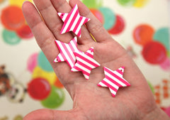 33mm Vibrant Rose Pink Striped Stars Acrylic or Resin Charms or Pendants - 6 pc set
