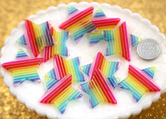 33mm Beautiful Rainbow Star Charms - 6 pc set
